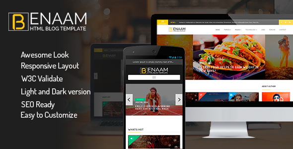 Benaam  Modern Blog / Megazine / News / Video Template - Business Corporate