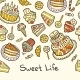 Sweet Life Card With Cakes Isolated On Dotted