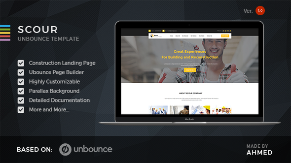 Scour - Construction Unbounce Landing Page - Unbounce Landing Pages Marketing