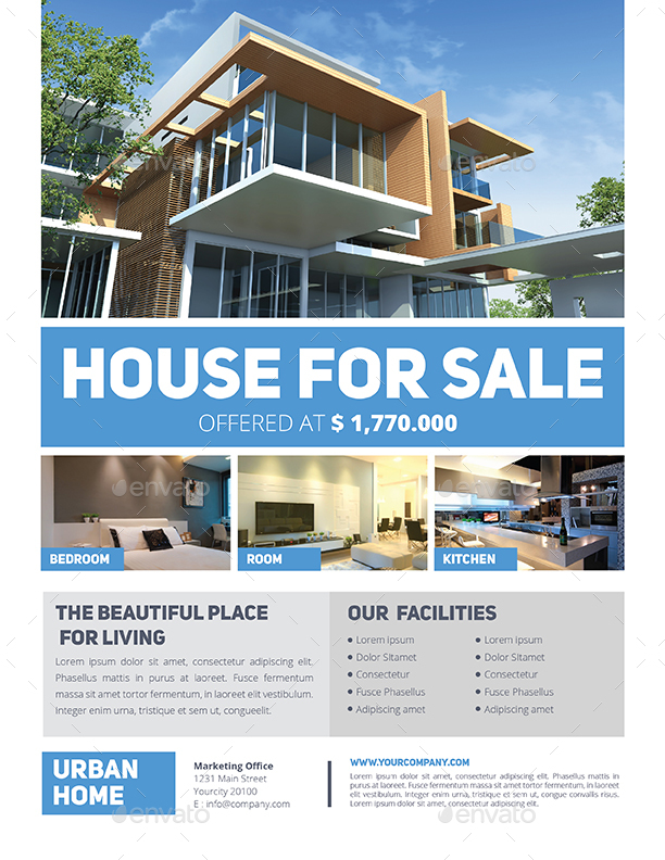 Simple real estate flyer by guuver graphicriver for Minimalist house for sale