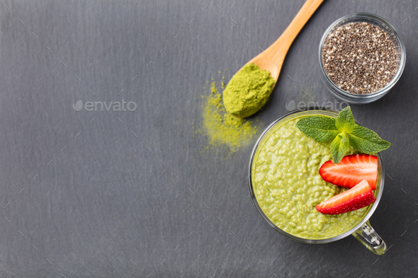 Matcha green tea chia seed pudding, dessert. - Stock Photo - Images