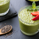 Matcha Green Tea Chia Seed Pudding, Dessert with Strawberry. - PhotoDune Item for Sale