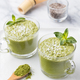 Matcha Green Tea Chia Seed Pudding, Dessert with Coconut. - PhotoDune Item for Sale