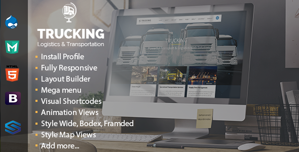 Trucking - Transportation & Commerce Drupal Theme - Business Corporate