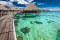 Over water villas on a tropical lagoon of Moorea Island, Tahiti - PhotoDune Item for Sale