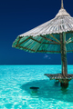 Bamboo beach umbrella in the water of tropical island - PhotoDune Item for Sale