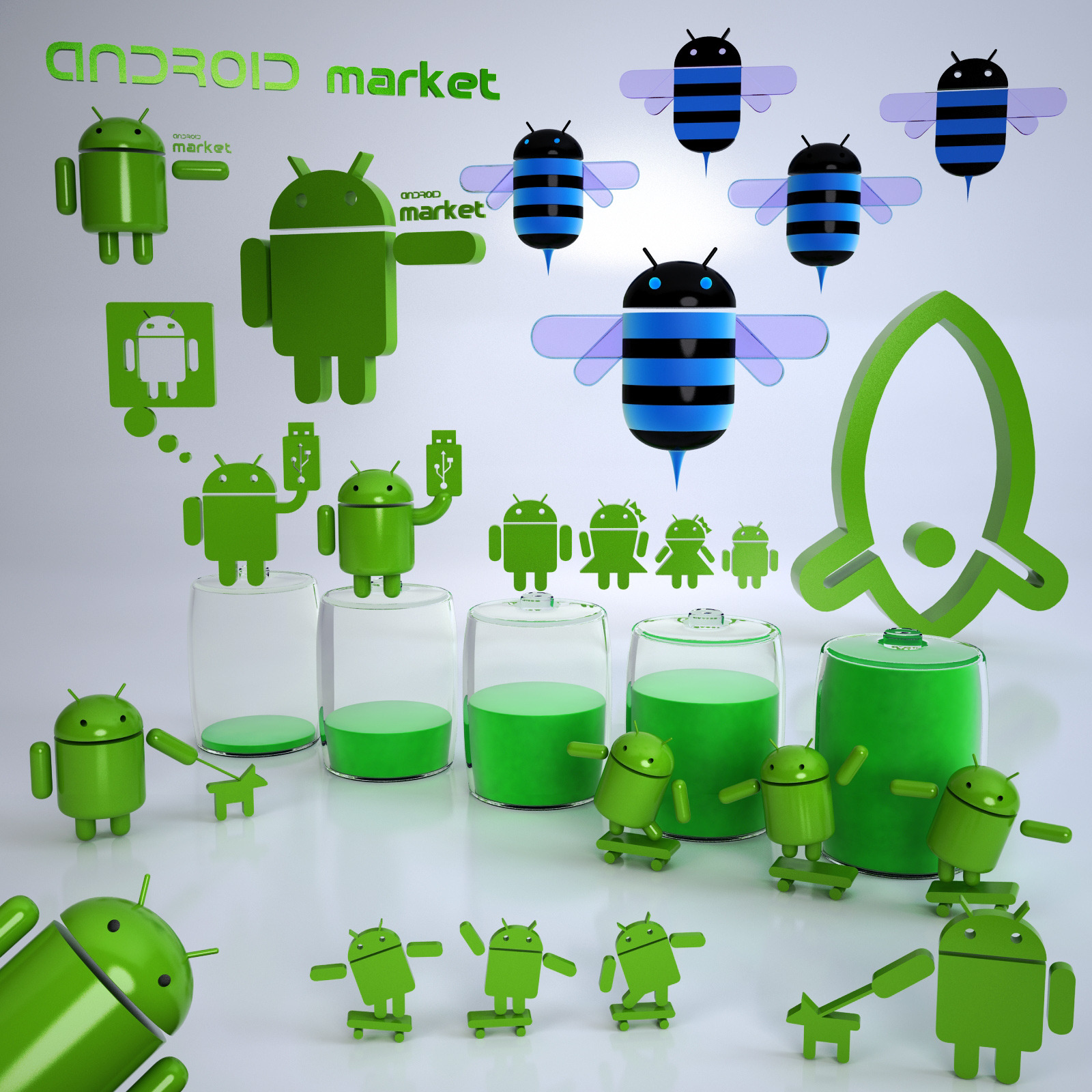 Android 3d model Pack
