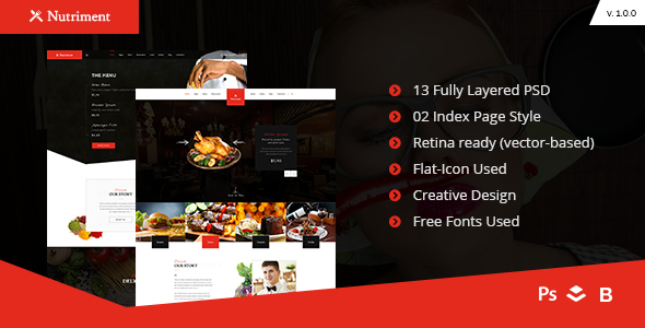 Nutriment – Restaurant / Cafe / Food Bootstrap PSD Template