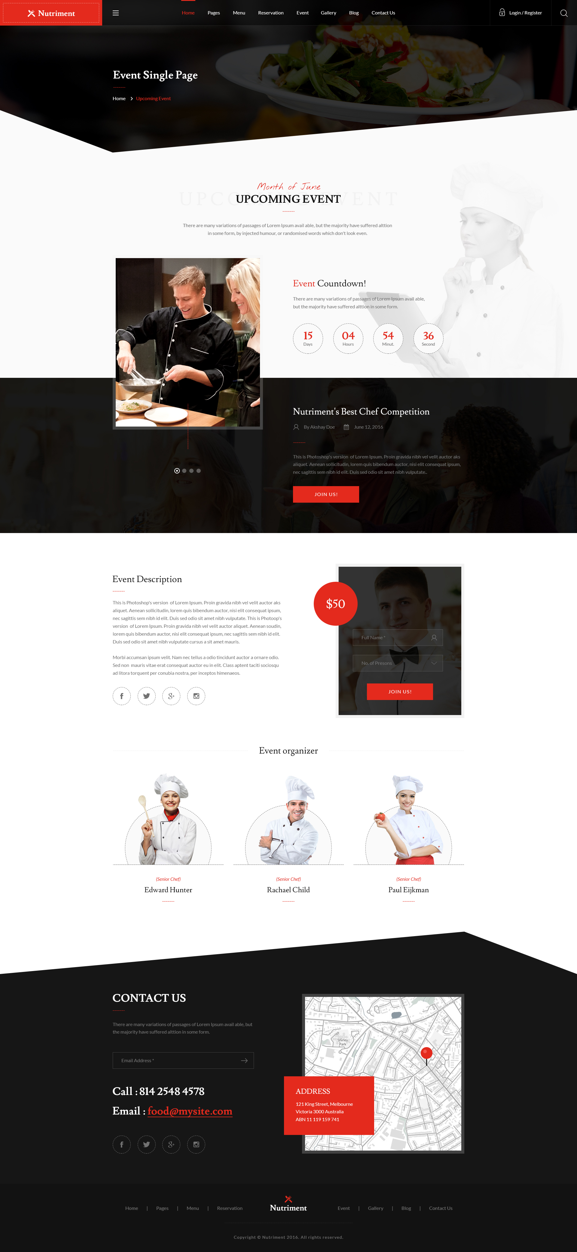 Nutriment Restaurant Cafe Food Bootstrap Psd Template By