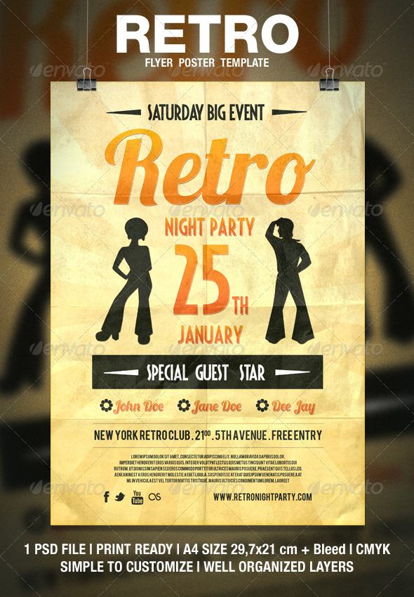 Retro Typography Flyer  Poster By Bluemonkeylab  Graphicriver