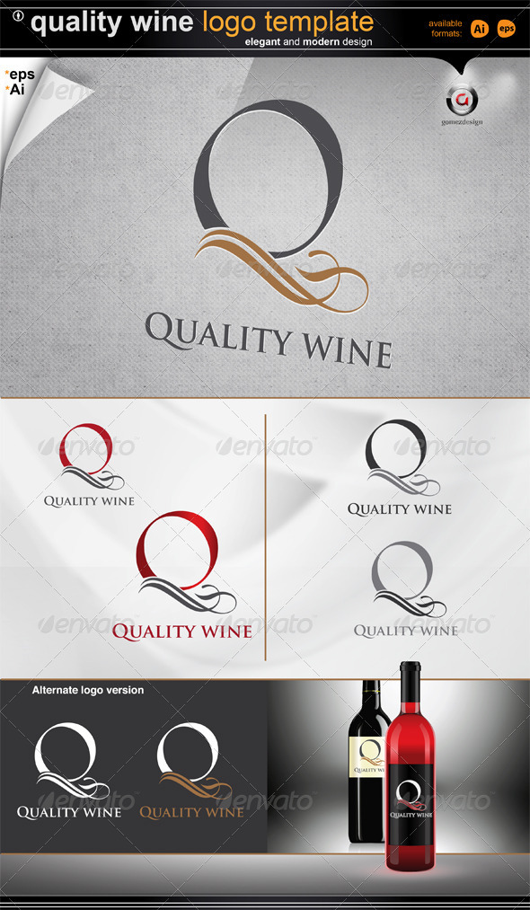 Quality wine logo  - Letters Logo Templates