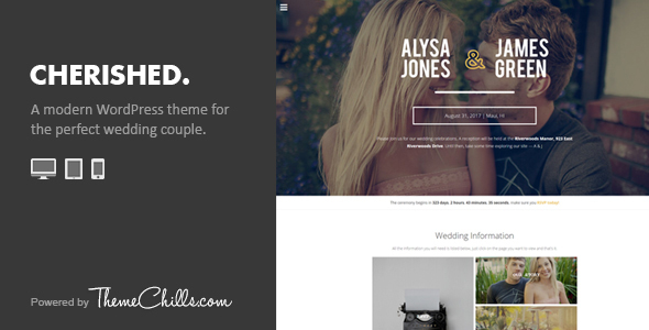 Cherished - Responsive Wedding WordPress Theme - Wedding WordPress