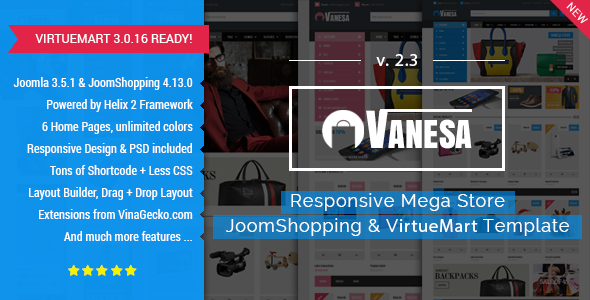 Vanesa | Mega Store Responsive Joomla Template - Shopping Retail