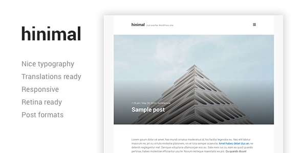 hinimal - Minimal & Clean Blog Responsive WordPress Theme