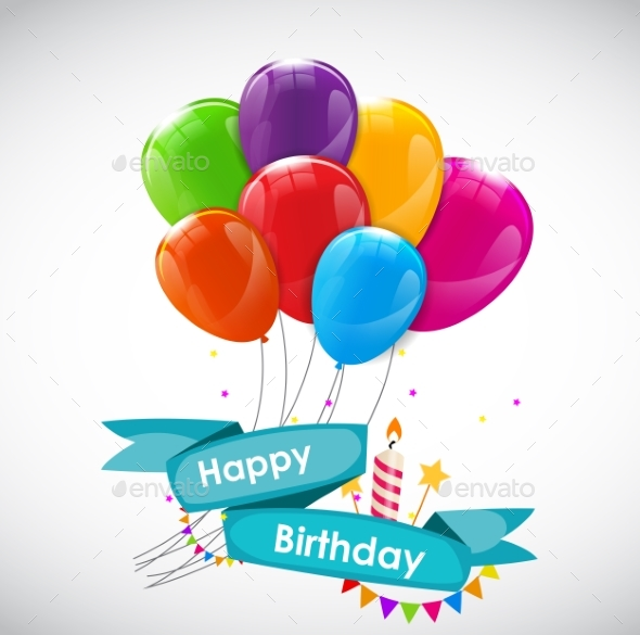 Happy Birthday Card Template With Balloons By Yganko Graphicriver
