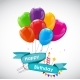 Happy Birthday Card Template with Balloons - GraphicRiver Item for Sale