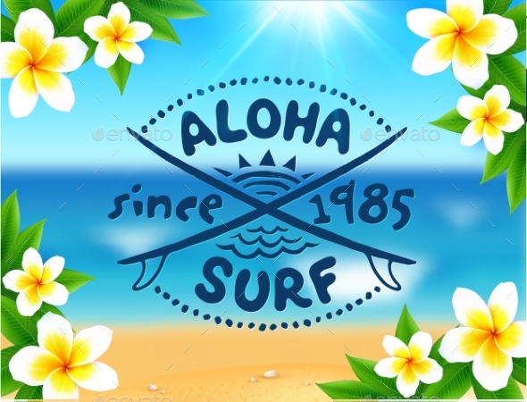 Aloha Surf Template on Blurred Ocean - Landscapes Nature