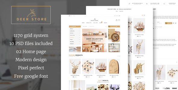 DeerStore - Ecommerce PSD Template - Retail PSD Templates