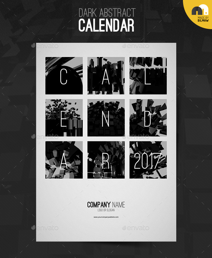 Calendar Cover : Dark abstract calendar by bilmaw graphicriver