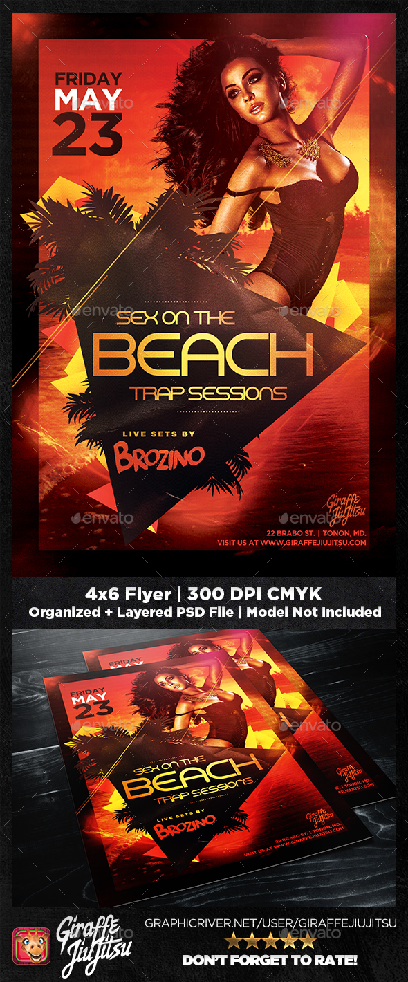 Sex on the Beach Trap Sessions Flyer Template - Clubs & Parties Events