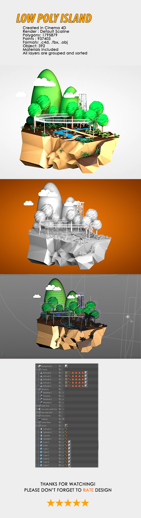 3D Low Poly Island - 3DOcean Item for Sale