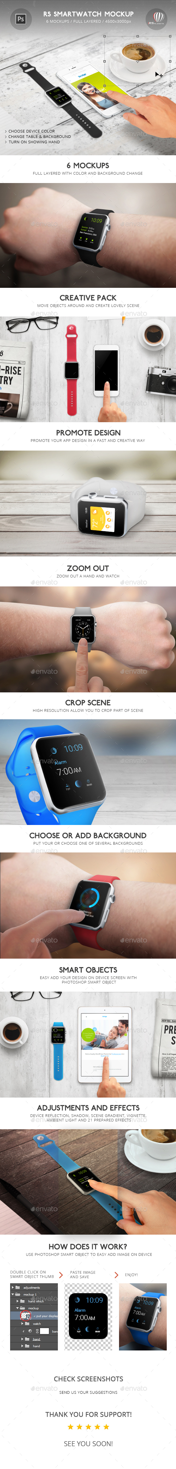 RS Smartwatch Mockup - Displays Product Mock-Ups