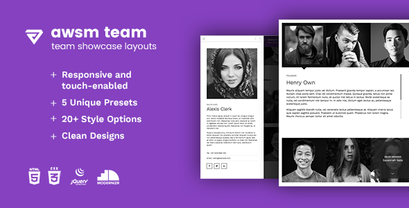 The Team - Team Showcase Framework HTML5 - CodeCanyon Item for Sale