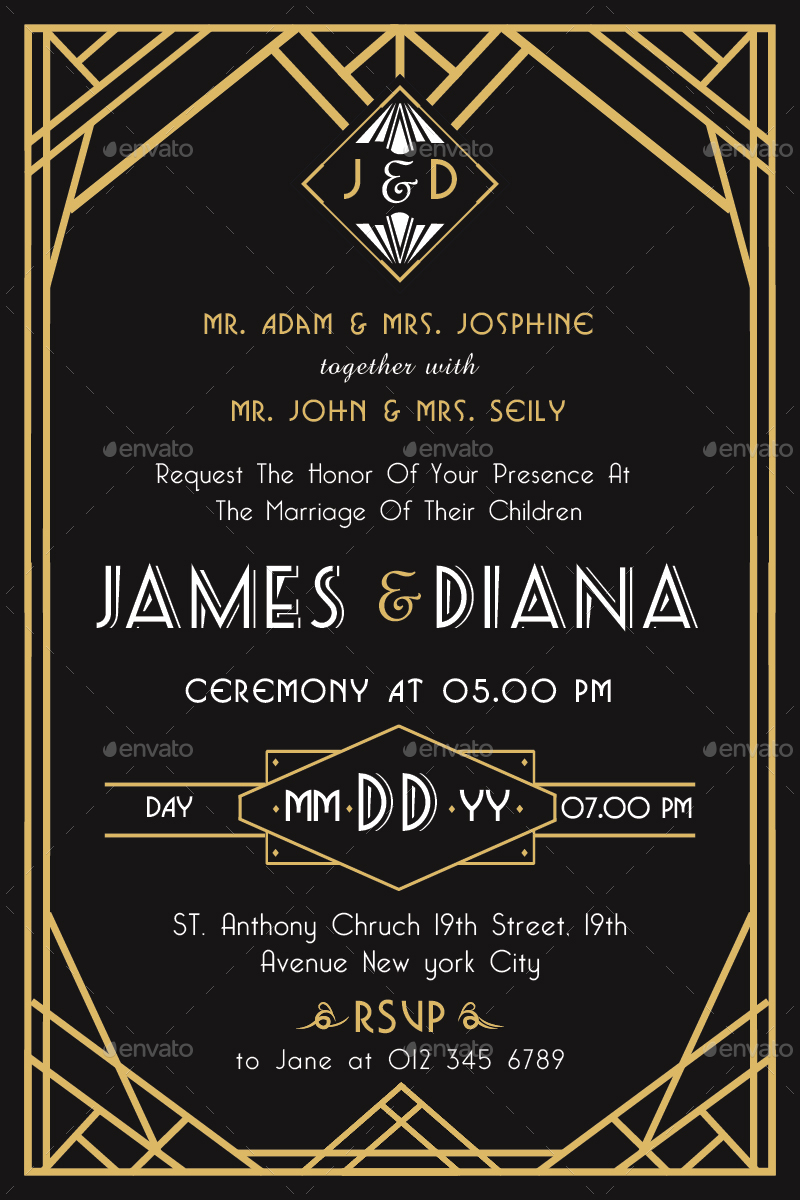 Art Deco Wedding Invitations.Art Deco Wedding Invitation Vol 2