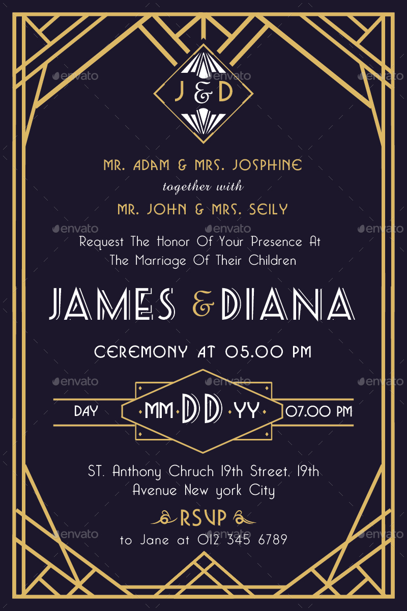 Preview Image Set 01 Art Deco Wedding Invitation Vol 2 Color Jpg 02