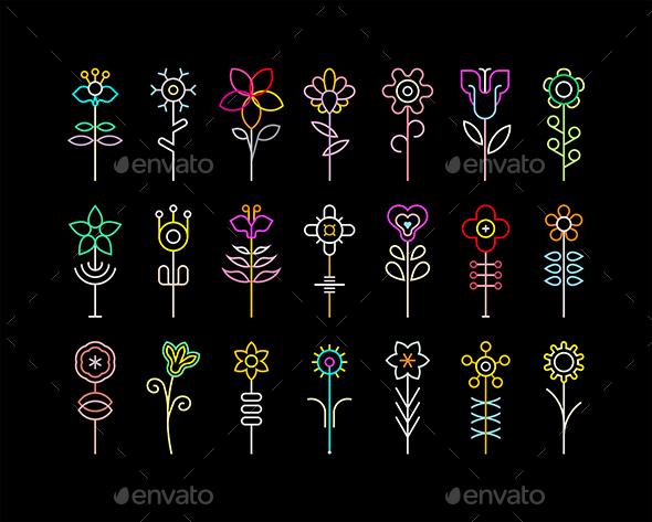 neon flowers by danjazzia graphicriver
