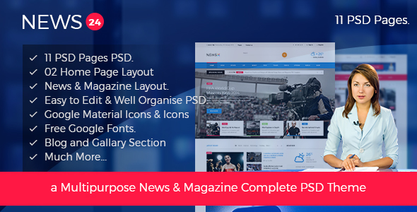 News 24 – News & Magazine PSD Template