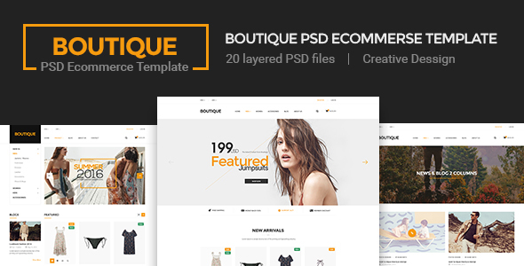 Boutique - Ecommerce PSD Template  - Retail PSD Templates