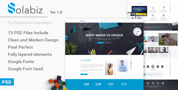 Solabiz – Business & Corporation PSD Template