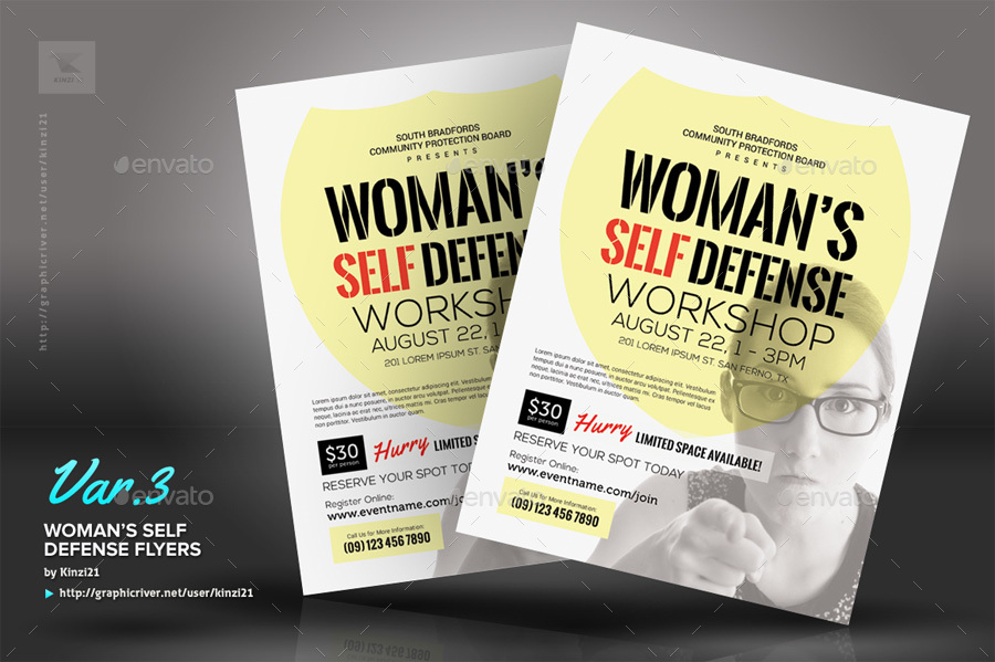 WomanS Self Defense Flyer Templates By Kinzi  Graphicriver