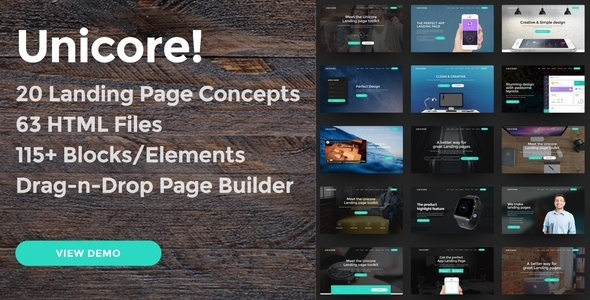 Unicore – 20 HTML Bootstrap Landing Page Templates with Drag-n-Drop Page Builder