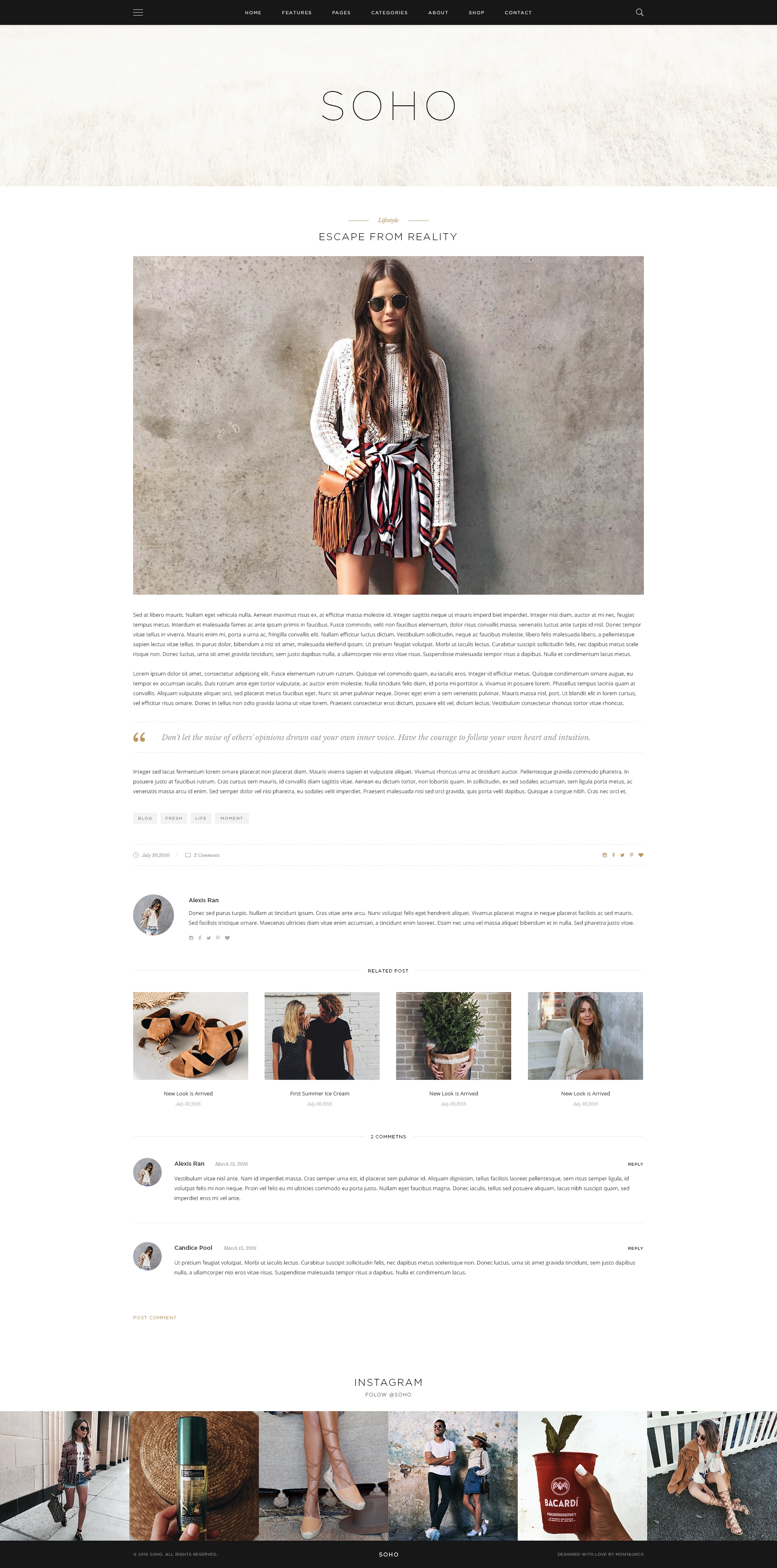 Soho Personal Blog Theme For Travelers And Dreamers By