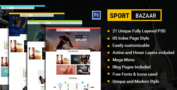 Sports Bazaar - Sports Ecommerce PSD Template - Retail PSD Templates