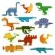 Cartoon Flat Dinosaurs and Aquatic Reptiles - GraphicRiver Item for Sale