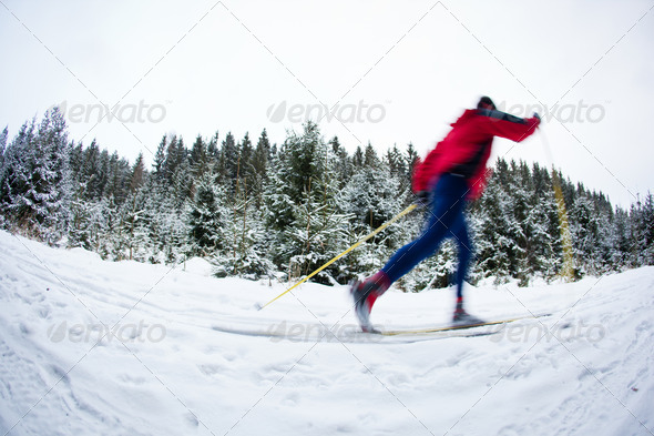 young man cross-country skiing on a snowy forest trail (color to - Stock Photo - Images