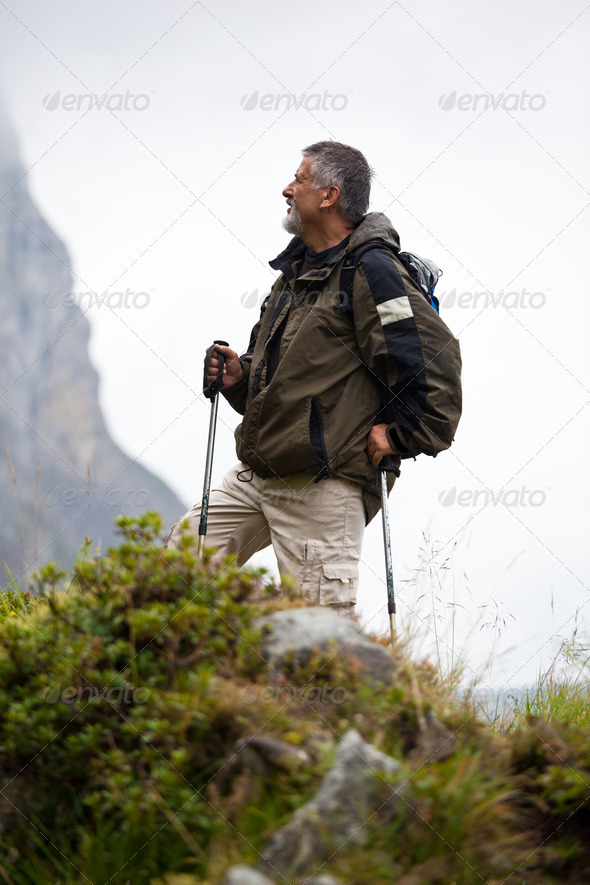 active handsome senior man nordic walking outdoors on a forest p - Stock Photo - Images
