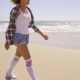 Sexy Woman Walks Beach Along - VideoHive Item for Sale