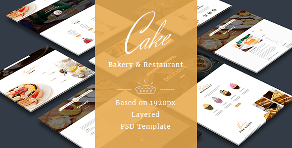 Cake - Easy & Slight Bakery PSD Template - Food Retail