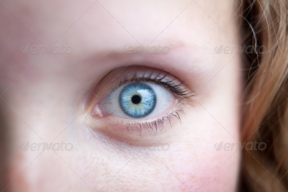 Close-up of a beautiful female blue eye - Stock Photo - Images