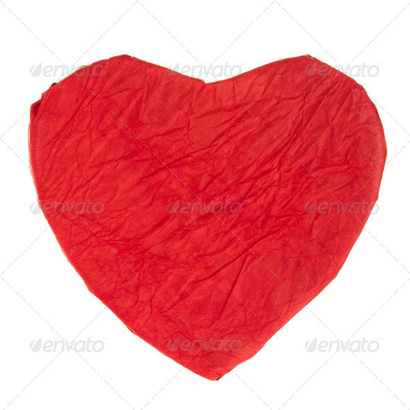 Red paper heart - Stock Photo - Images