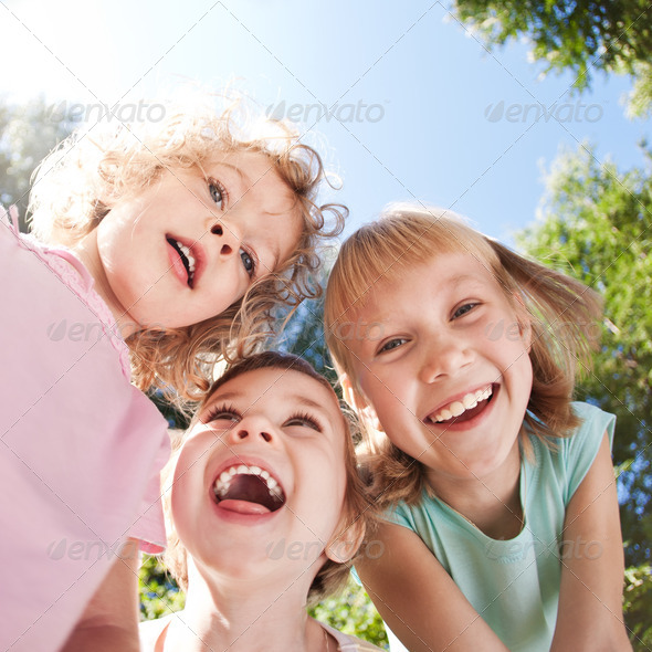 Happy children having fun - Stock Photo - Images
