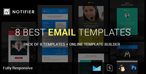 Notifier - Complete Email Package - Responsive Templates + Builder - Email Templates Marketing