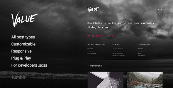 Value – Portfolio Theme for Tumblr