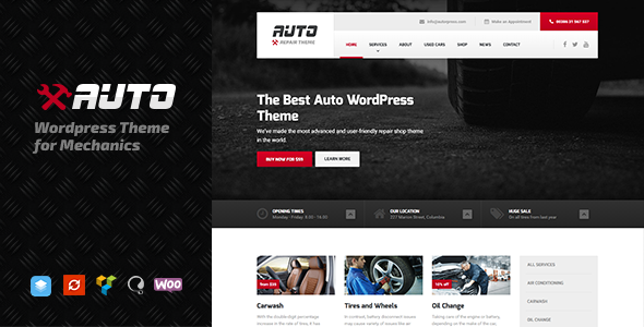 Auto - Ideal Car Mechanic and Auto Repair Template for WordPress - Corporate WordPress