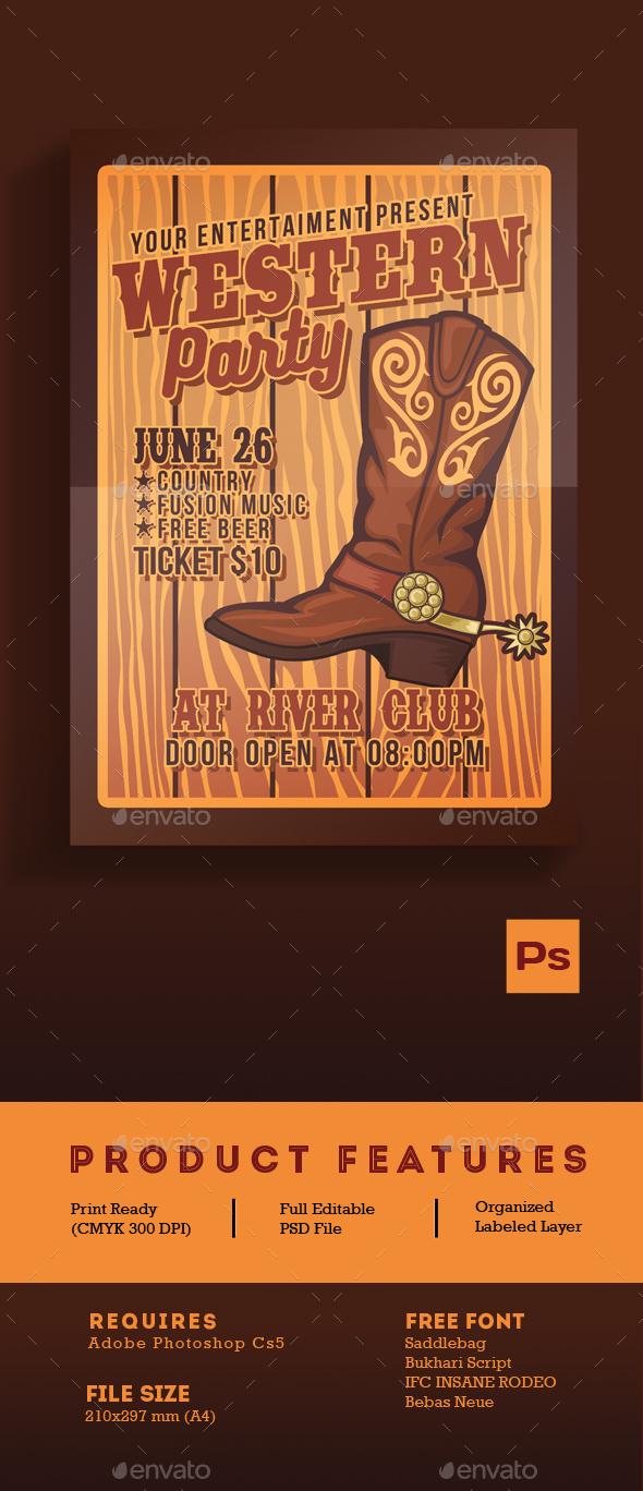 Western Party Flyer - Flyers Print Templates
