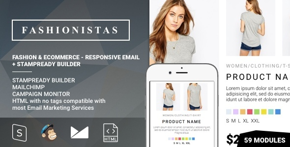 Fashion & Ecommerce – Responsive Email with Mailchimp Editor & StampReady Builder